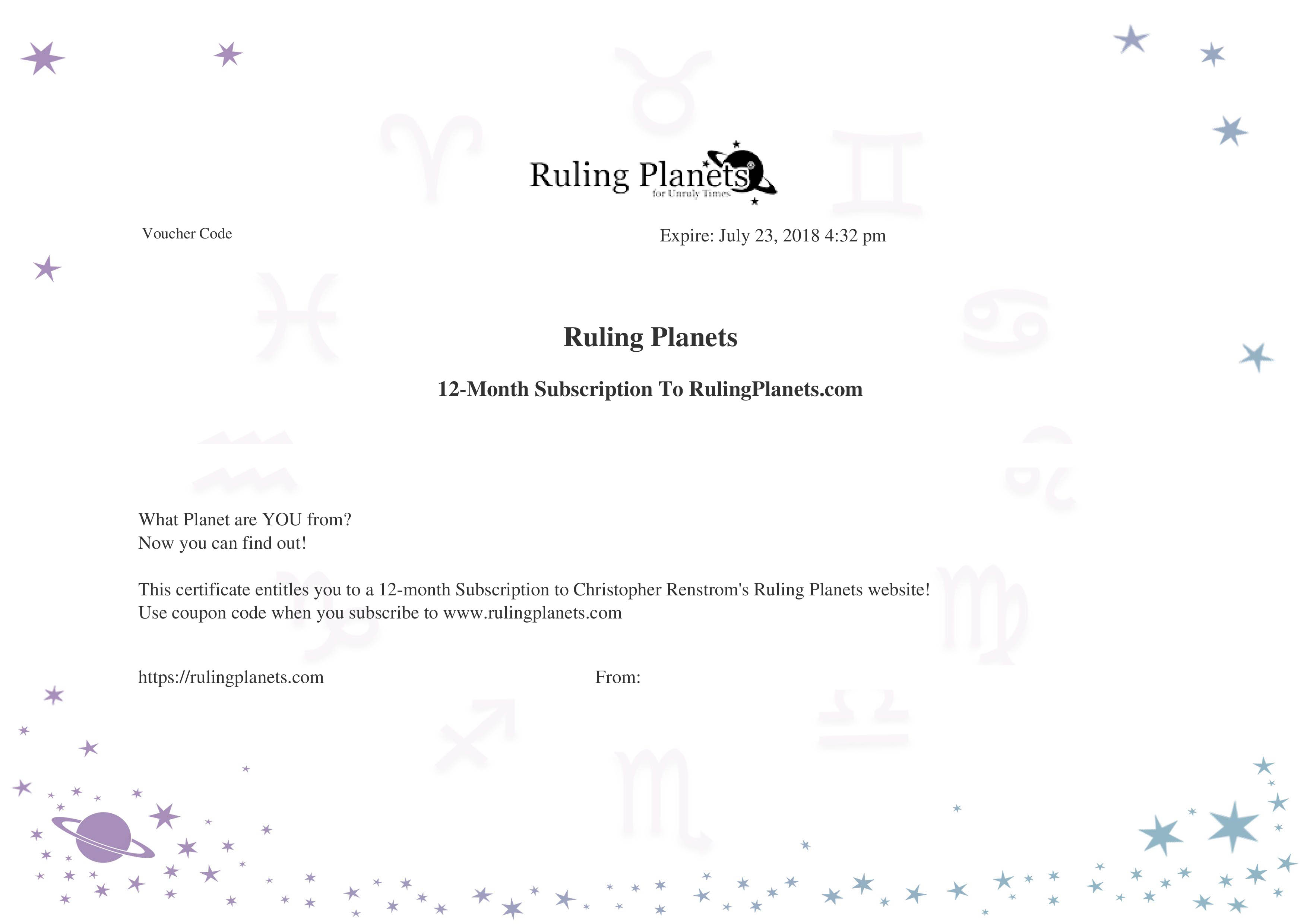Annual subscription gift certificate ruling planets share on facebook xflitez Image collections
